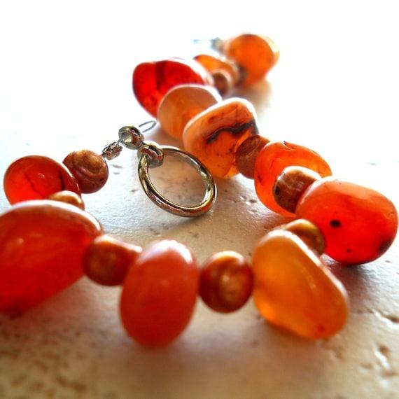 RESERVED Carnelian Cluster Bracelet Bronze Freshwater Pearl Toggle Clasp Orange Autumn Harvest