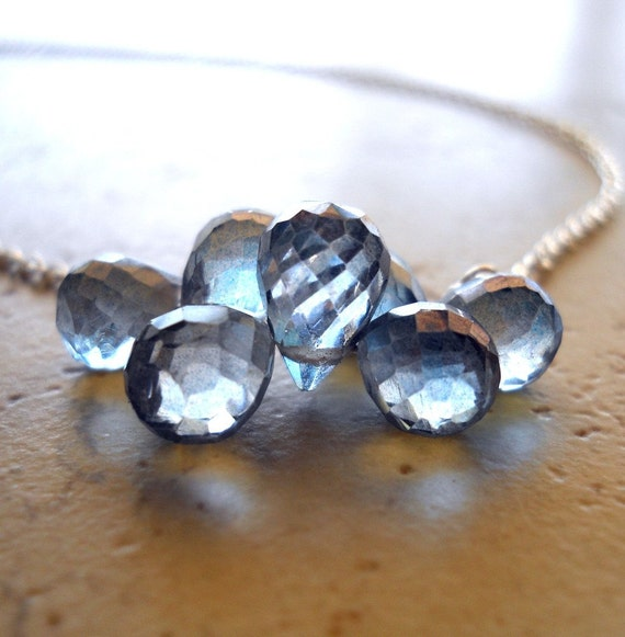 Morning Fog Necklace, Denim Blue Mystic Quartz Teardrop Cluster Necklace on Delicate Sterling Silver, Blue Stone Necklace
