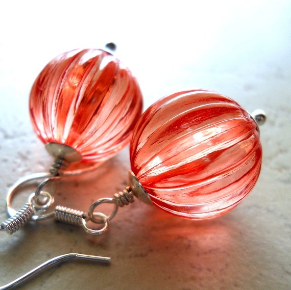 Paprika Earrings Sterling Silver Coral Orange Fluted Melon