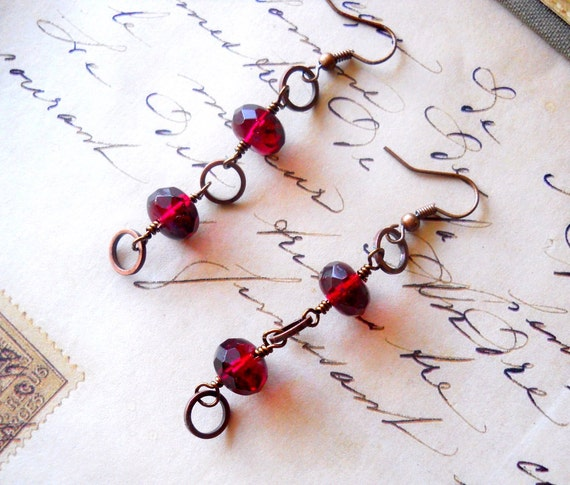 Garnet Red Earrings, Red Drops, Cranberry Glass Earrings, Red and Copper Drop, Rustic Dangles January Birthstone Earrings