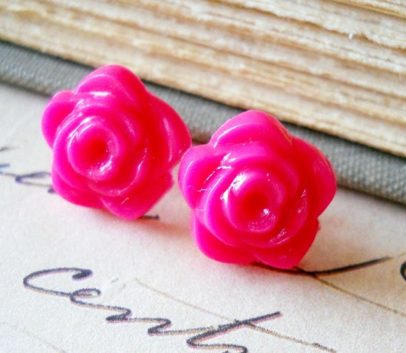 Hot Pink Earrings, Flowers, 14mm Rainbow Collection Bright Jewelry, LAST ONE