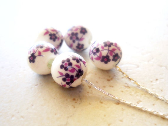 Porcelain Beaded Necklace, White and Purple Floral Flowers, Floating Beads on Silver