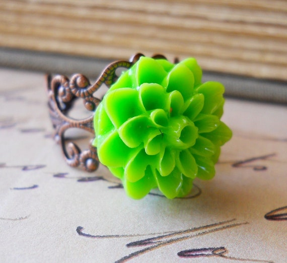 Lime Green Ring Dahlia Antiqued Copper Filigree Flower