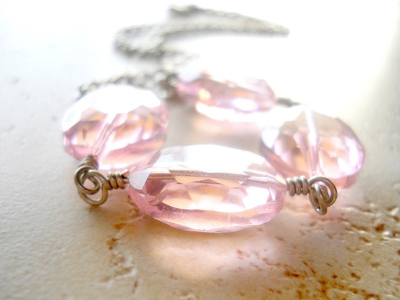 Large Pink Crystal Necklace, Wire Wrapped, Faceted Oval Glass Coins, Silver