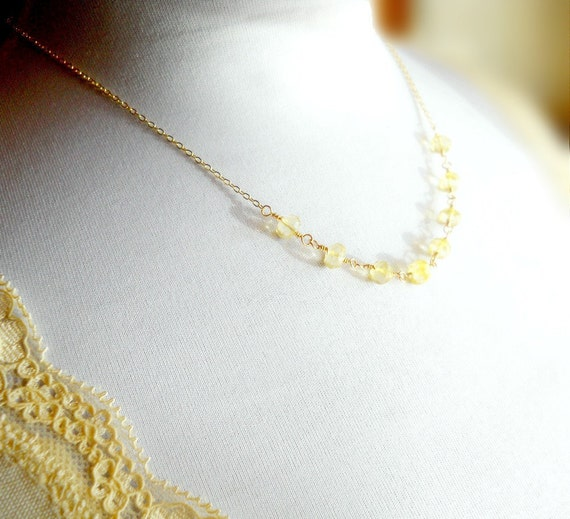 Gemstone Necklace, Delicate Jewelry 14k gf Gold Filled and Lemon Topaz, Wire Wrapped Genuine Stone, Pale Yellow, November Birthstone