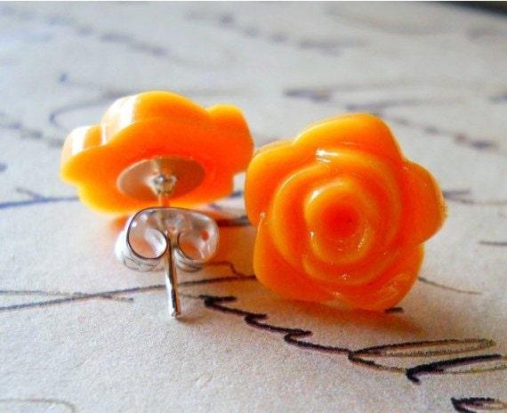Orange Flower Stud Earrings, Rainbow Collection Flower Jewelry LAST ONE