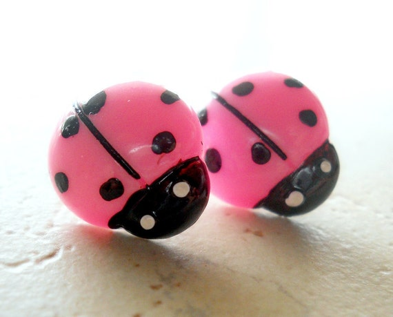 Pink and Black Ladybug Earrings, Kawaii Jewelry, Lady Bugs, Jewelry Gifts under 10