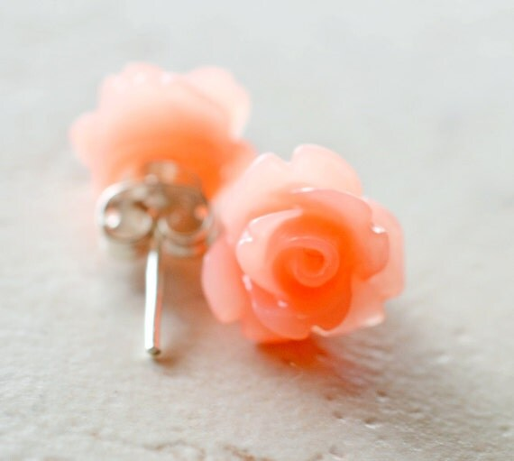 Coral Rose Earrings / Peach Flower Stud Earrings / Coral Colored Jewelry / Tropical Jewelry / Coral Earrings / The Rosie