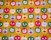 yellow happy apples fat quarter quilters cotton fabric