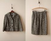 50s Tweed Tailored Skirt Suit Set - Black & White Tweed