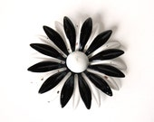 Monochrome Daisy Brooch.  Black and White.  Enameled Metal.