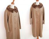 Fur Trimmed Coat - Acorn Boucle Wool