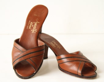 50s Leather Shoes - Peeptoes in British Tan - Kitten Heels - Crossover Heels