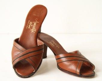 50s Leather Shoes - Peeptoes in British Tan - Kitten Heels - Crossover Heels