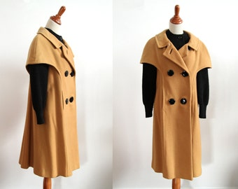 50s Vintage Winter Coat - Black and Tan