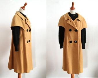 50s Vintage Winter Coat - Black and Tan