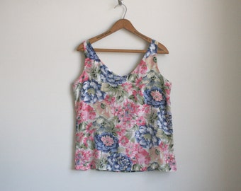Floral Silk Blouse - Sleeveless Silk Tank