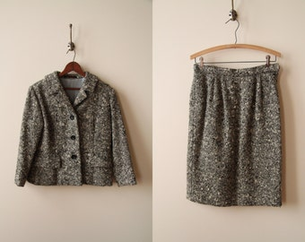 50s Tweed Tailored Skirt Suit Set - Black & White Tweed