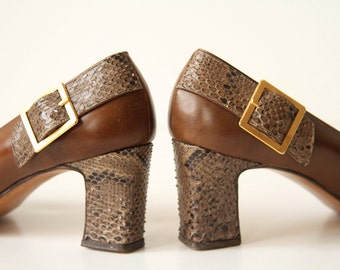 50s Ferragamo Heels - Python and Leather