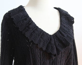 Vintage Black Crochet Top with Ruffle Neck, Peplum Waist Vintage 1970s by Laura by Aliza