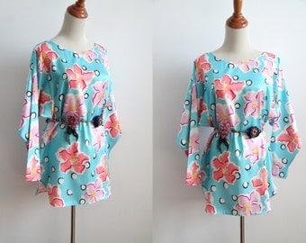 Polka Dot Floral Tunic - Pastel Blue & Pink Floral