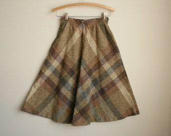 Plaid Circle Skirt - Tawny Tweed