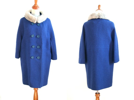 SALE 1950s Vintage Wool Coat - Cobalt Blue Wool Coat with Fur Collar