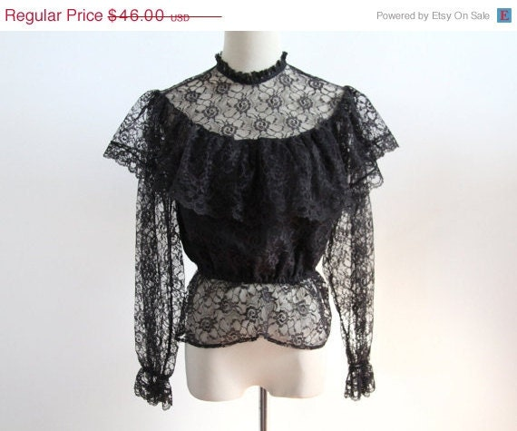SPRING SALE Black Lace Blouse with Ruffles