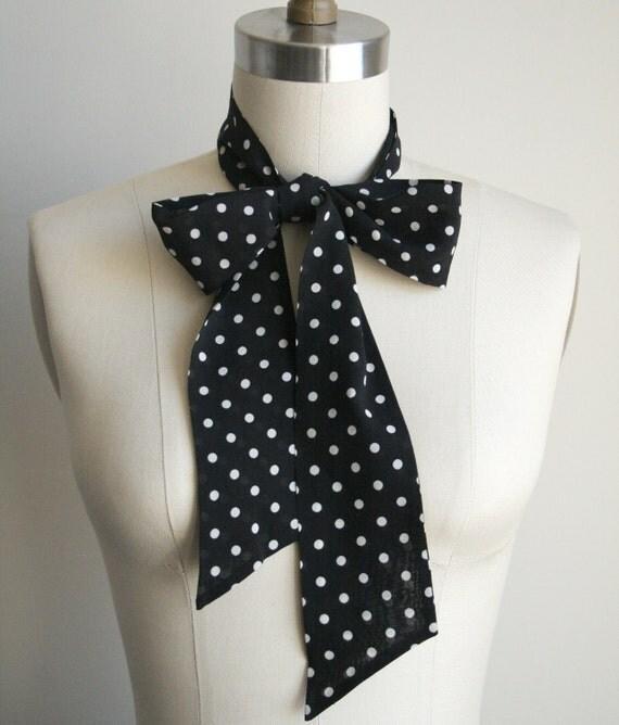 Polka Dot Skinny Scarf - Black & White