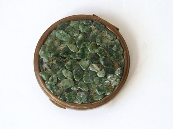 SALE Antique Brass Compact covered in Jade Gemstone - Evergreen Festive Stocking Stuffer