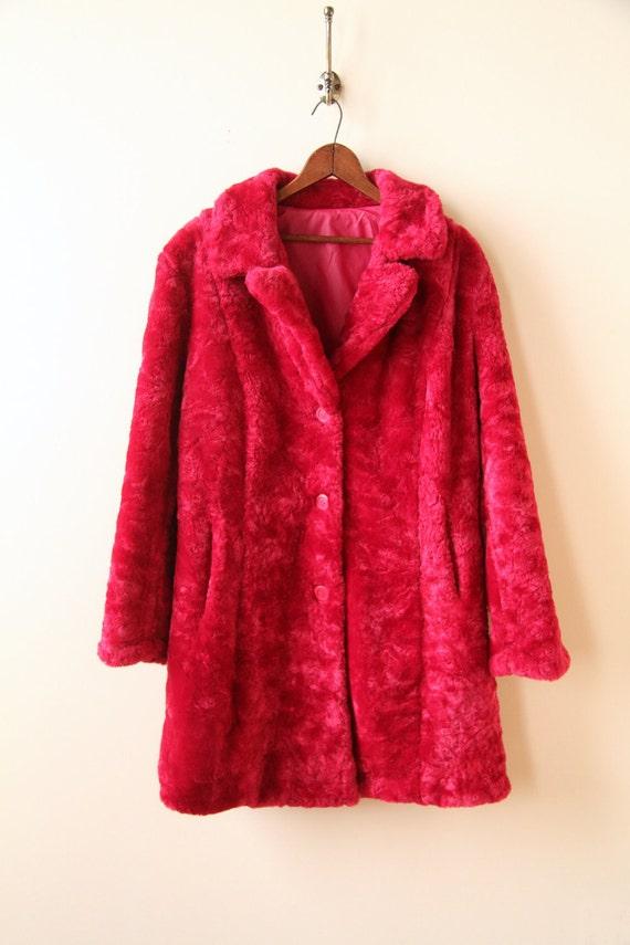 90s Hot Pink Faux Fur Winter Coat Neon Faux Fur