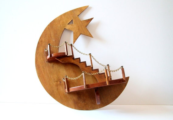 Wooden Moon Shelf