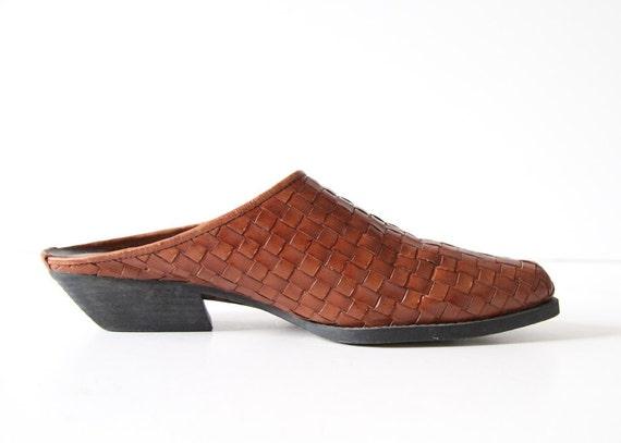SALE Vintage 80s Woven Leather Shoes - US 7.5