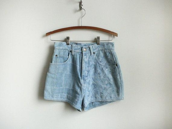 90s Floral Denim Shorts