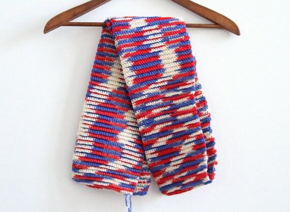 Swirl Knit Scarf - Avant Garde - Red White & Blue