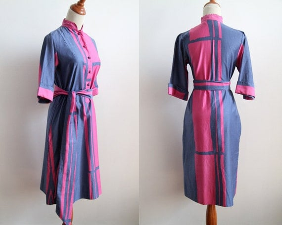 Abstract Expressionist Mod Dress - Kimino Style - Purple