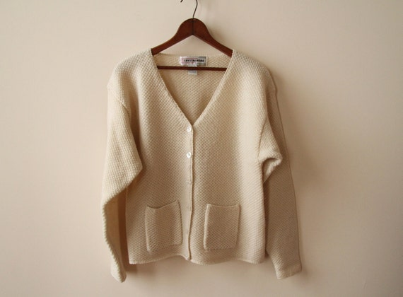 Ivory Wool Cardigan with Pockets