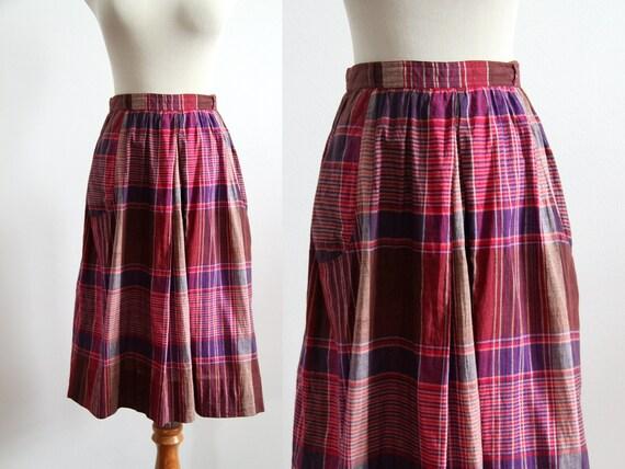 Plaid Cotton Skirt - Magenta & Purple
