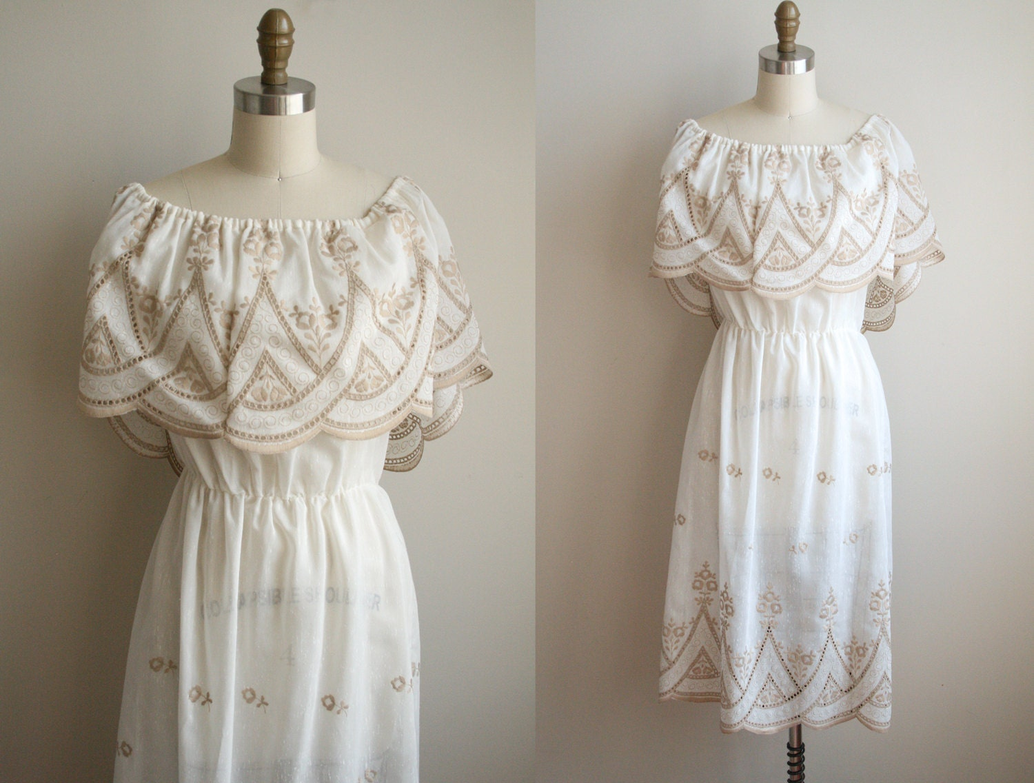 Vintage Mexican Wedding Dresses For  : Emboirderd mexican wedding dress white