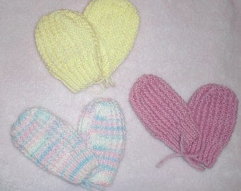 thumbless baby mitts - yellow
