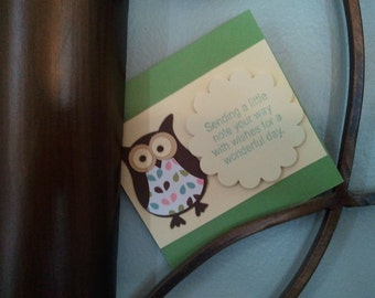 Set of 4 3x3 Owl Cards with envelopes