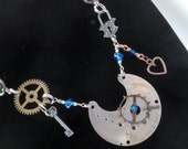 Antique Watch Steampunk Necklace Exposed Gear and Victorian Guilloche Engraved Details swarovski sterling silver rolo chain OOAK W03