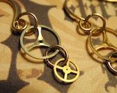Steampunk Earrings Vintage 3 prong Gold Balance Wheels Gear Earrings