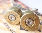 Bullet Shell Cufflinks COLT 45  two tone Starline (gold & silver) Up Cycled  Repurposed Cuff Links .45 caliber