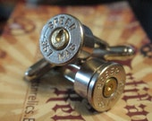 Bullet Shell Cufflinks 357 Magnum SPEER Nickel Plated Up Cycled  Repurposed Cuff Links