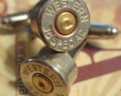 Bullet Shell Cufflinks 38 Special WESTERN 2 tone Nickel Plated Up Cycled  Repurposed Cuff Links
