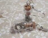 Clockwork  Bottle Earrings tiny  vintage style glass bottle dangle earrings