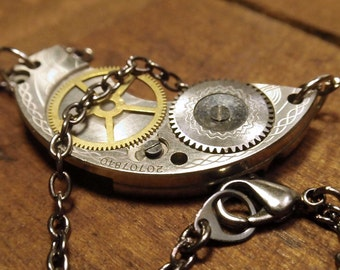 Antique Steampunk Pocket Watch Guilloche engraved Hand Made necklace neo victorian W01