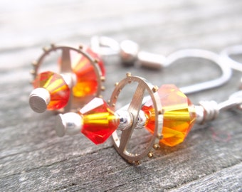Balancing act steampunk vintage gear  earrings swarovski crystals Fire Opal