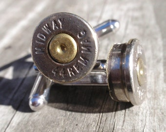 Bullet Shell Cufflinks 44 Mag two tone (gold and silver) Up Cycled  Repurposed Cuff Links